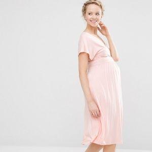 ASOS pink flutter sleeve maternity dress